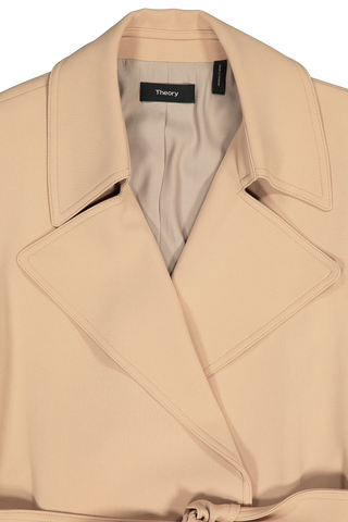 Front collar and lapel detail image of Theory Women's Oaklane Trenchcoat Tan