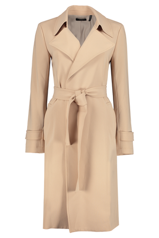 Front view image of Theory Women's Oaklane Trenchcoat Tan