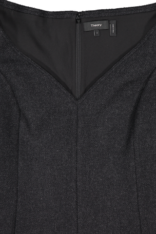 Front neckline detail image of Theory Women's Paneled Dress Charcoal