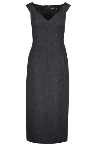 Front view image of Theory Women's Paneled Dress Charcoal