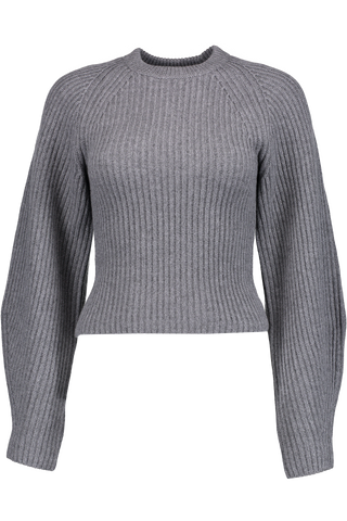 Sculpted Sleeve Crewneck Sweater Charcoal