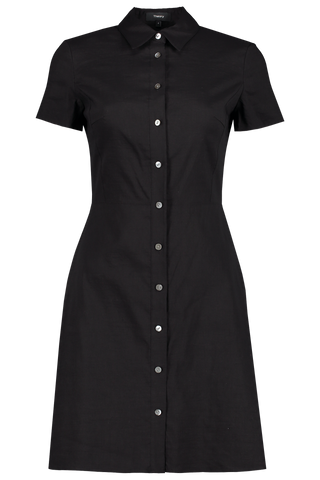Short Sleeve Button Down Dress Black