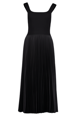 Front view image of Theory Women's Square Neck Rib Dress Black