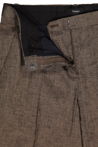 Zipper and button detail image of Theory Tailored Trouser Beige Clay