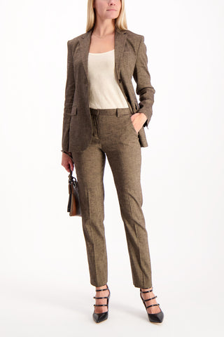Full Body Image Of Model Wearing Theory Tailored Trouser Beige Clay