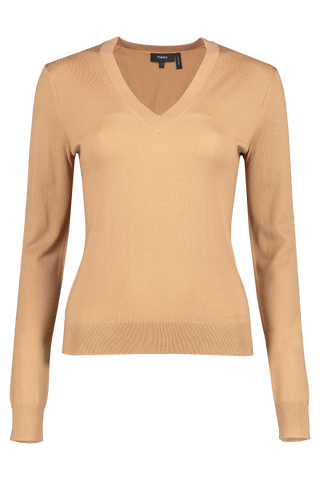 Front image of Theory Women's V-Neck Pullover Sweater Beige Canvas