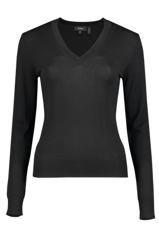 Front image of Theory Women's V-Neck Pullover Sweater Black