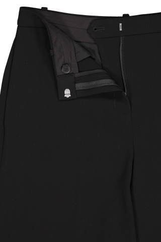 Front waistline and zipper detail image of Theory Women's Wide Leg Trouser Black
