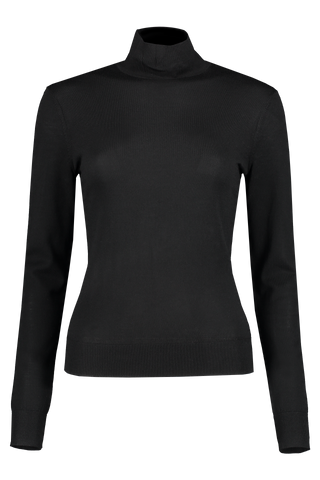 Front image of Theory Women's Wool Turtleneck Black