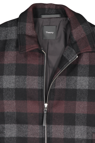 Front collar and zipper detail image of Theory Men's Wyatt Plaid Zip Jacket Chianti/Black