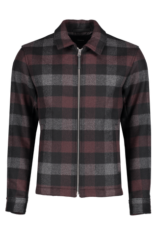 Front view image of Theory Men's Wyatt Plaid Zip Jacket Chianti/Black