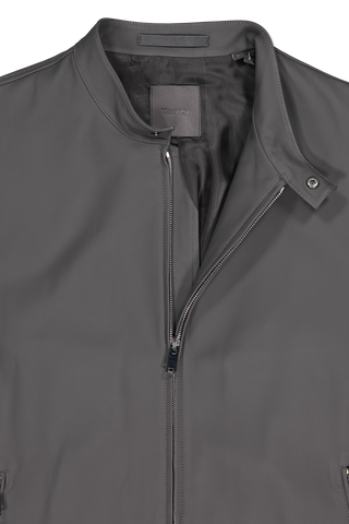 Front collar and zipper detail image of Theory Men's Wyndsor Leather Jacket