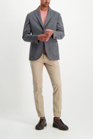 Full Body Image Of Model Wearing Theory Zaine H Double Stretch Trouser