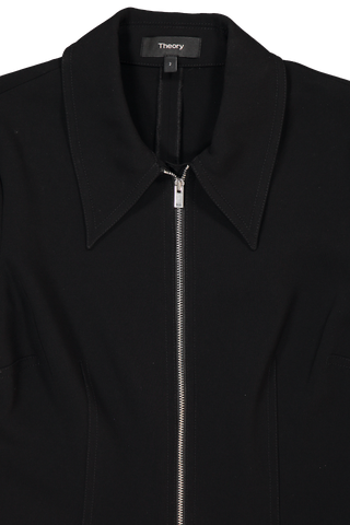 Collar Detail Image of Theory Women's Zip Shirt Dress