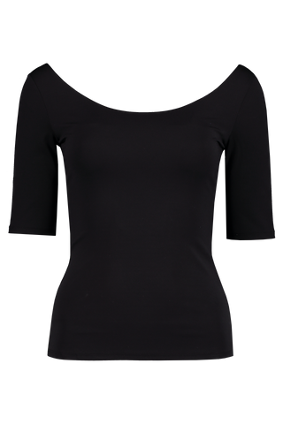 Front view image of The Row Atlo Top Black