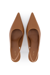 Toe Box Image of The Row Bourgeoise Sling Pump in Caramel