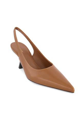 Angle Image of The Row Bourgeoise Sling Pump in Caramel