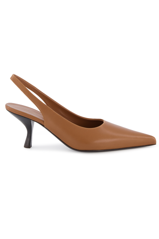 Front Image of The Row Bourgeoise Sling Pump in Caramel