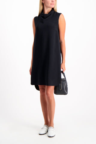 Full Body Image Of Model Wearing The Row Dorma Dress Black