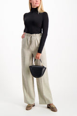 Full Body Image Of Model Wearing The Row Jr Drawstring Pant