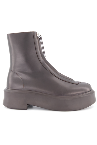 Side view image of The Row Zipped Boot Espresso