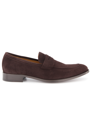 Side view image of To Boot Men's Dearborn Suede Flex Penny Loafer