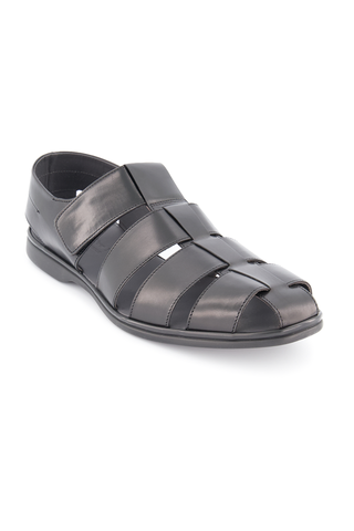 Front angled view image of To Boot New York Santorini Fisherman Sandal Nero