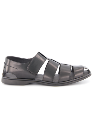 Side view image of To Boot New York Santorini Fisherman Sandal Nero