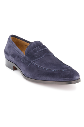 Front angled view image of Tesoro Suede Penny Dress Loafer Space