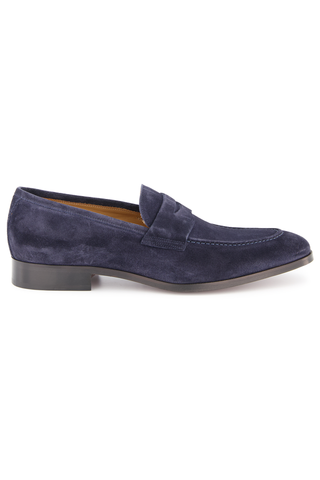 Side view image of Tesoro Suede Penny Dress Loafer Space