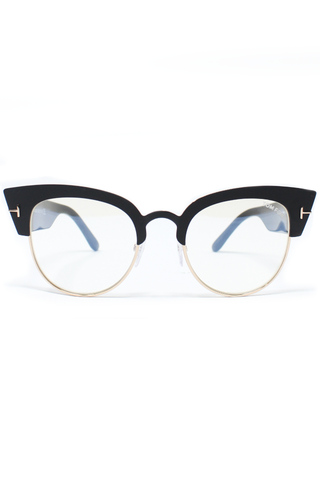 Cat eye plastic glasses with black frames.