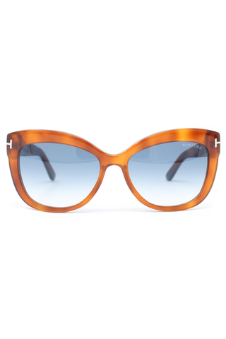 Brown plastic oversized rounded frames with blue lenses