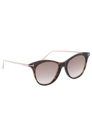 Angled view image of Tom Ford Women's Micaela Dark Havana Sunglasses