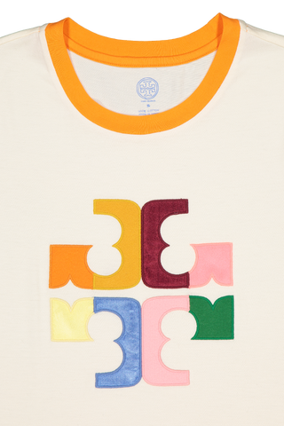 Front collar detail image of Tory Burch Color Block Logo T-Shirt