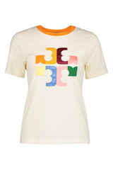 Front view image of Tory Burch Color Block Logo T-Shirt
