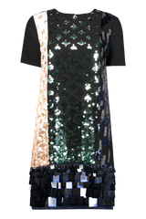 Front view image of Tory Burch Color Block Sequin T-Shirt Dress