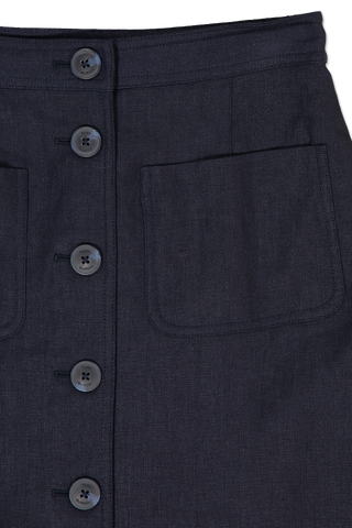 Front Button Detail Notch A-Line Skirt Navy