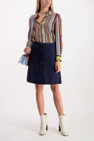 Full Body Image Of Tory Burch Notch A-Line Skirt Navy