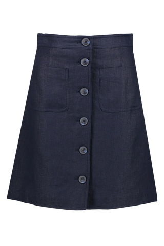 Front Image Notch A-Line Skirt Navy