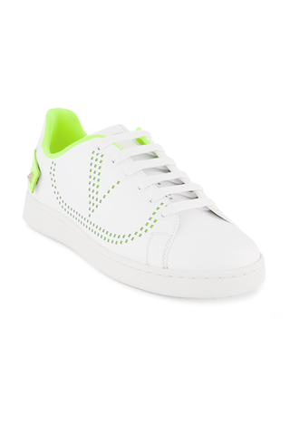 Front angled view image of Valentino Backnet Sneaker Bianco Lime