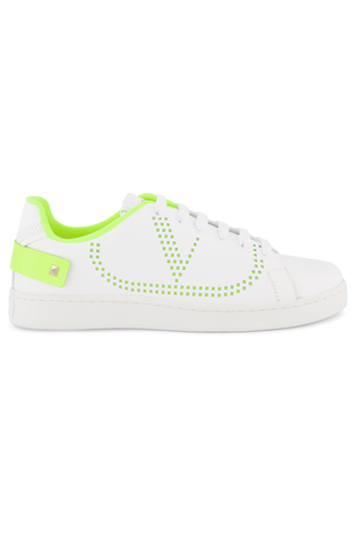 Side view image of Valentino Backnet Sneaker Bianco Lime