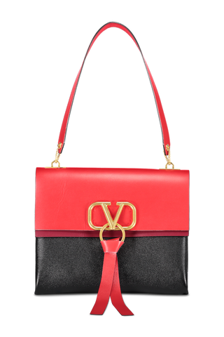 Front image of Valentino Women's Go Logo Ribbon Medium Shoulder Bag