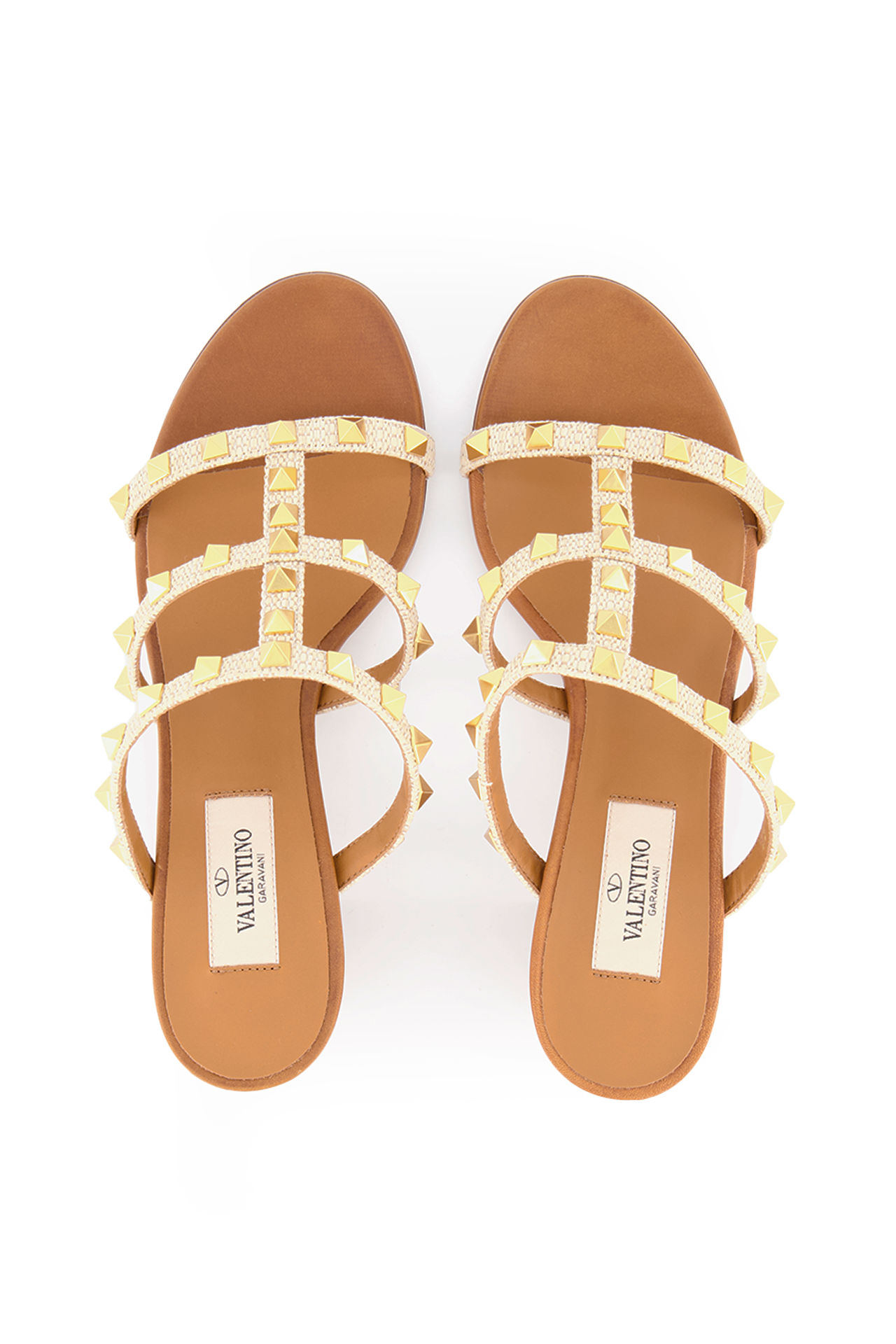 Toe Box Image of Valentino Rockstud 60mm Sandal in Naturale Ambra