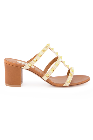 Front Image of Valentino Rockstud 60mm Sandal in Naturale Ambra