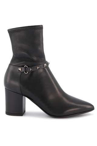 Side view image of Valentino Rockstud 70mm Bootie Black