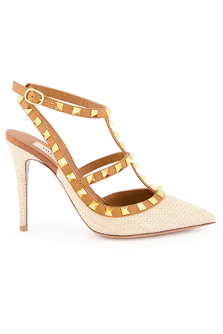 Front Image of Valentino Rockstud Ankle Strap 100mm Pump in Naturale Ambra
