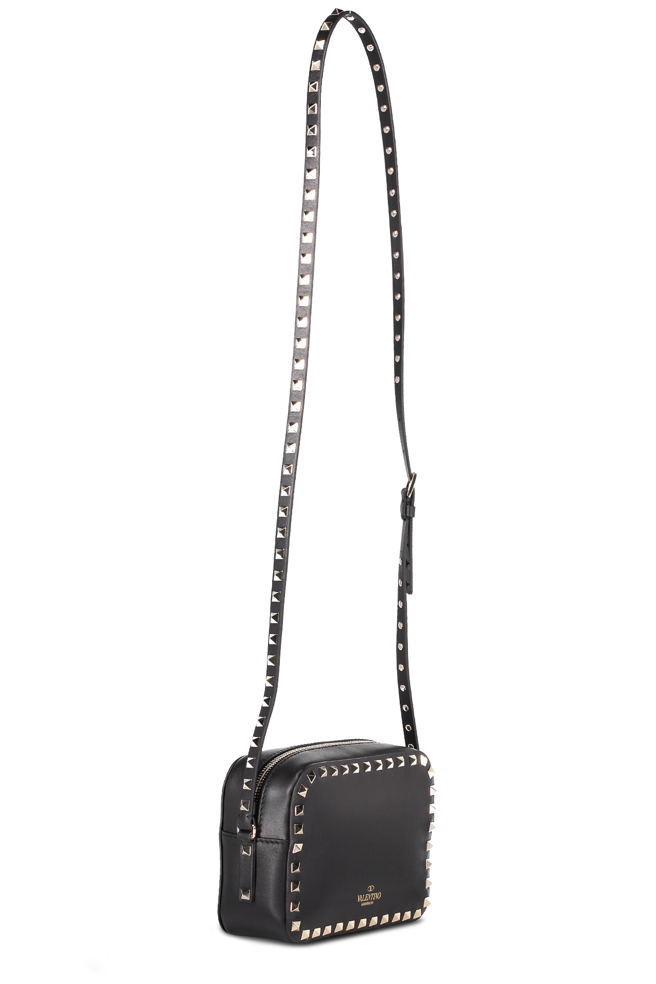 Back Image with Strap Rockstud Crossbody Bag Nero
