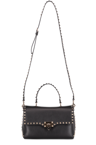 Front Image with Strap Rockstud Single Handle Bag Nero