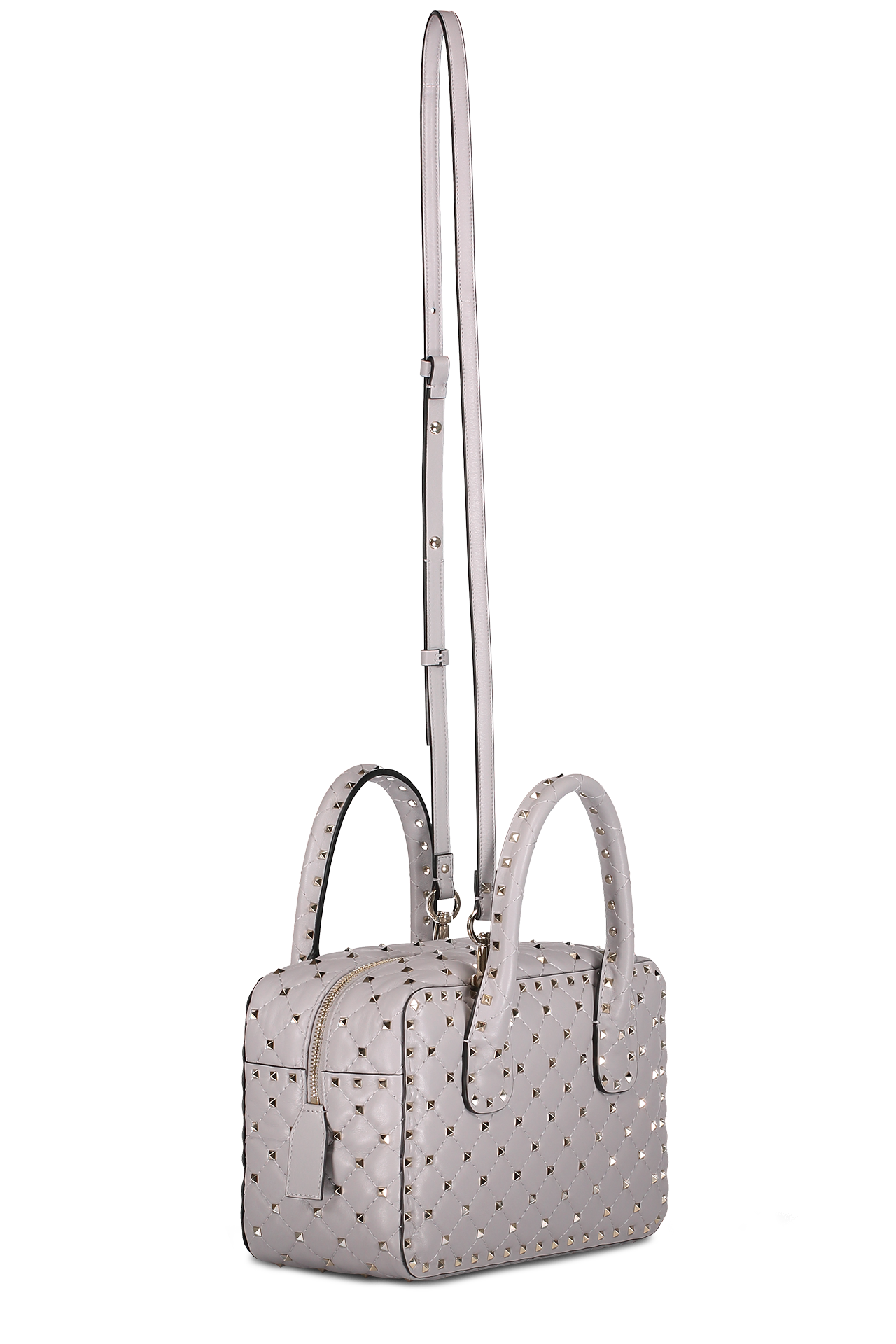 Back angle image detail of Valentino Rockstud Spike Medium Duffle Bag
