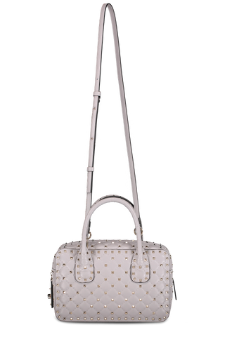 Front image with strap detail image of Valentino Rockstud Spike Medium Duffle Bag